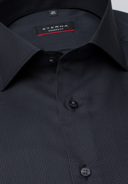 ETERNA LONG SLEEVE SHIRT MODERN FIT FANCY WEAVE ANTHRACITE STRUCTURED