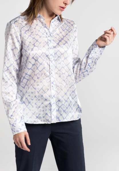 ETERNA LONG SLEEVE BLOUSE MODERN CLASSIC LIGHT BLUE PRINTED