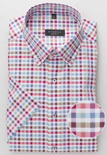 ETERNA HALF SLEEVE SHIRT COMFORT FIT TWILL MULTICOLOR CHECKED