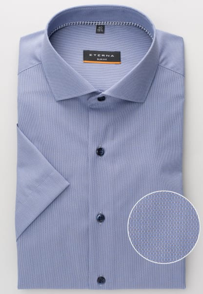 ETERNA HALF SLEEVE SHIRT SLIM FIT BLUE STRUCTURED