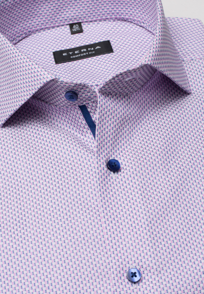 ETERNA LONG SLEEVE SHIRT COMFORT FIT KETTLANCÈ NAVY / PINK STRUCTURED