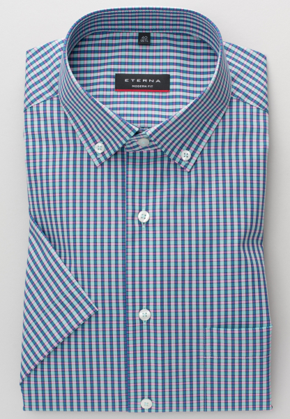 ETERNA HALF SLEEVE SHIRT MODERN FIT POPLIN MINT / PINK / BLUE CHECKED