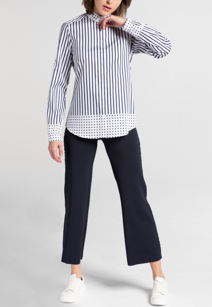 ETERNA LONG SLEEVE BLOUSE MODERN CLASSIC NAVY / WHITE PRINTED