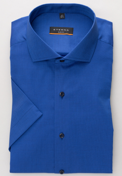 ETERNA HALF SLEEVE SHIRT SLIM FIT STRETCH ROYAL BLUE STRUCTURED