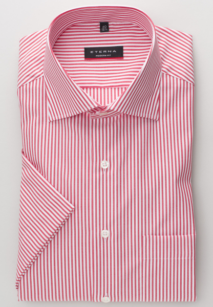 ETERNA HALF SLEEVE SHIRT MODERN FIT RED/WHITE STRIPED
