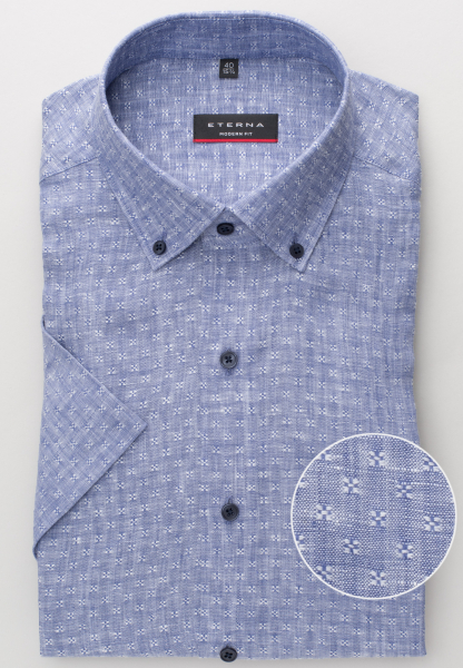 ETERNA HALF SLEEVE SHIRT MODERN FIT LINEN BLUE STRUCTURED