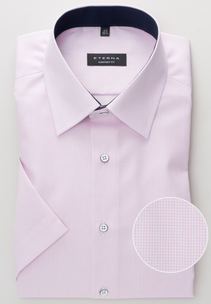 ETERNA HALF SLEEVE SHIRT COMFORT FIT POPLIN ROSE CHECKED