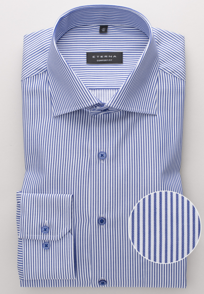 ETERNA LONG SLEEVE SHIRT COMFORT FIT TWILL BLUE/WHITE STRIPED