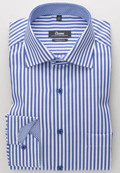 ETERNA LONG SLEEVE SHIRT COMFORT FIT FANCY WEAVE BLUE STRIPED