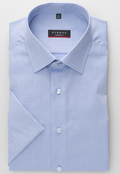 ETERNA HALF SLEEVE SHIRT MODERN FIT FANCY WEAVE LIGHT BLUE STRUCTURED
