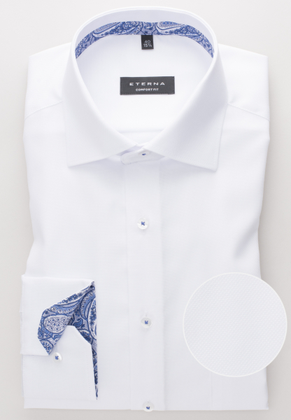 ETERNA LONG SLEEVE SHIRT COMFORT FIT NATTÉ WHITE STRUCTURED