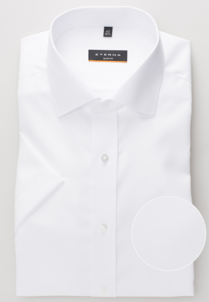 ETERNA HALF SLEEVE SHIRT SLIM FIT FANCY WEAVE WHITE STRUCTURED