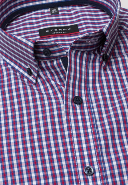 ETERNA HALF SLEEVE SHIRT MODERN FIT POPLIN RED/BLUE CHECKED