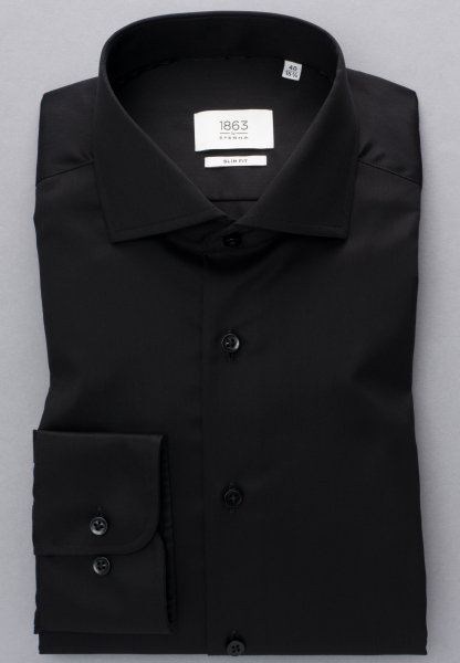 ETERNA LONG SLEEVE SHIRT SLIM FIT GENTLE SHIRT TWILL BLACK UNI