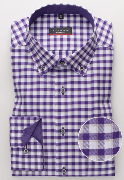 ETERNA LONG SLEEVE SHIRT MODERN FIT TWILL PURPLE CHECKED