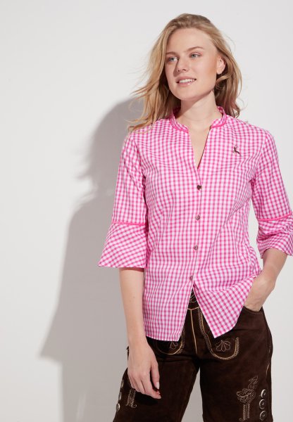 ETERNA 3/4 SLEEVE BLOUSE SLIM FIT STRETCH PINK CHECKED