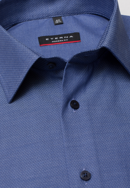 ETERNA HALF SLEEVE SHIRT MODERN FIT FANCY WEAVE SMOKE BLUE STRUCTURED