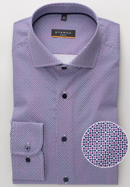 ETERNA LONG SLEEVE SHIRT SLIM FIT POPLIN DARK BLUE PRINTED