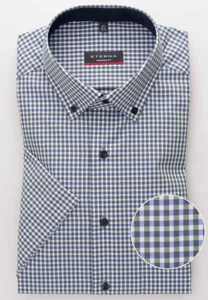 ETERNA HALF SLEEVE SHIRT MODERN FIT CHAMBRAY GREEN/WHITE CHECKED