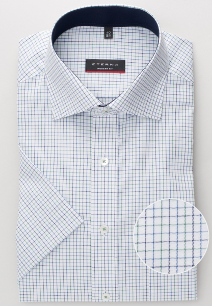 ETERNA HALF SLEEVE SHIRT MODERN FIT OXFORD GREEN/BLUE CHECKED