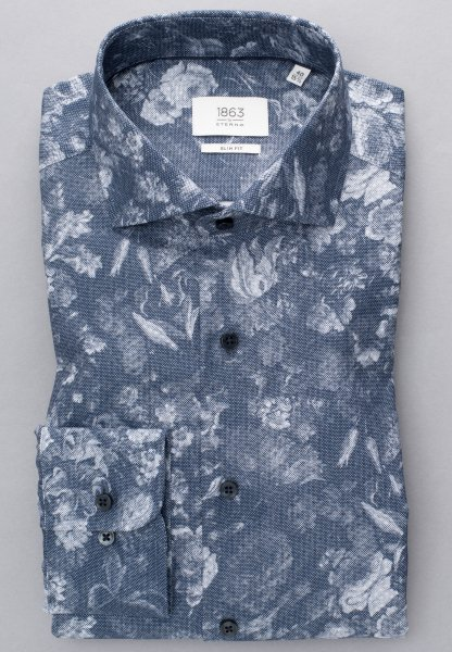 ETERNA LONG SLEEVE SHIRT SLIM FIT OXFORD BLUE PRINTED