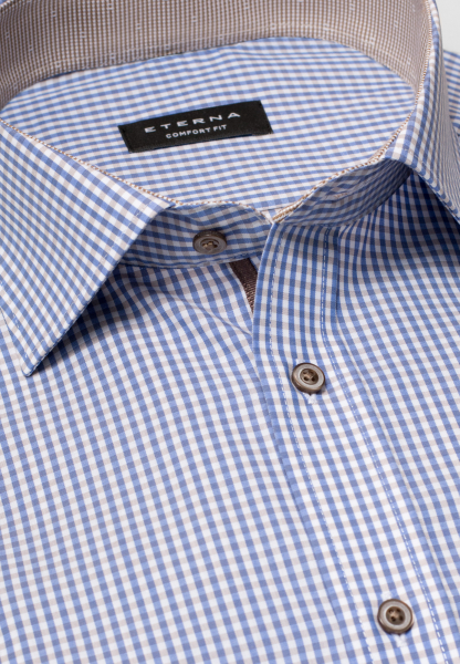 ETERNA LONG SLEEVE SHIRT COMFORT FIT POPLIN LIGHT BLUE / BEIGE CHECKED