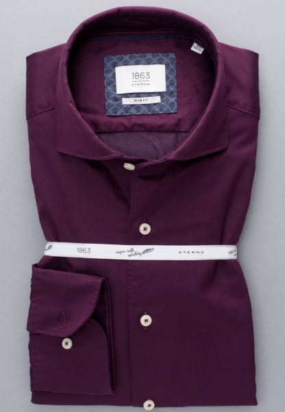 ETERNA LONG SLEEVE SHIRT SLIM FIT SOFT TAILORING TWILL BURGUNDY UNI