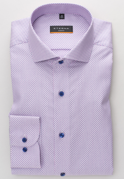 ETERNA LONG SLEEVE SHIRT SLIM FIT KETTLANCÈ NAVY / PINK STRUCTURED