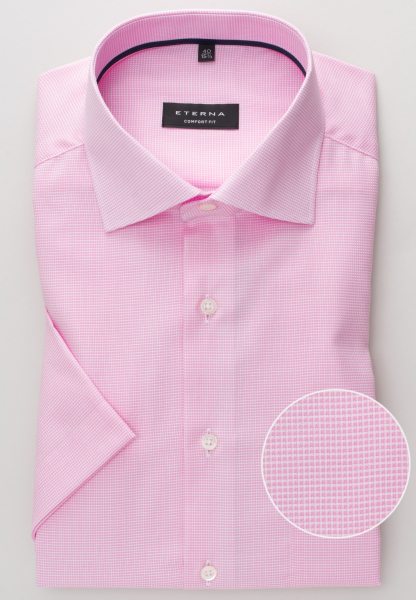 ETERNA HALF SLEEVE SHIRT COMFORT FIT STRETCH PINK / WHITE STRUCTURED
