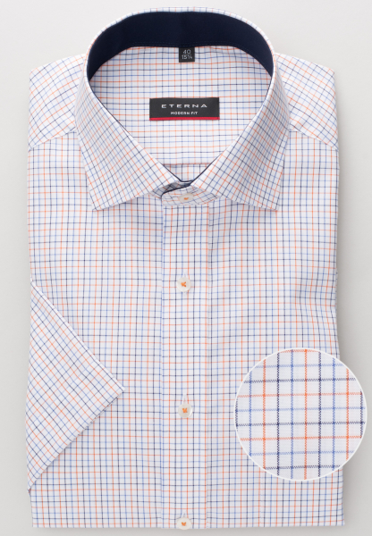 ETERNA HALF SLEEVE SHIRT MODERN FIT OXFORD NAVY / ORANGE CHECKED