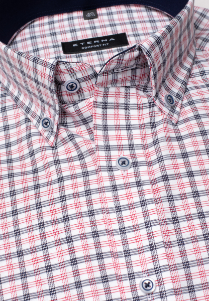 ETERNA LONG SLEEVE SHIRT COMFORT FIT OXFORD BLUE/RED CHECKED