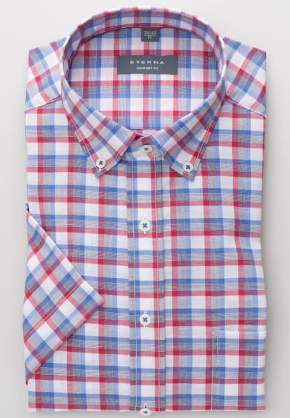 ETERNA HALF SLEEVE SHIRT COMFORT FIT LINEN RED / BLUE / WHITE CHECKED