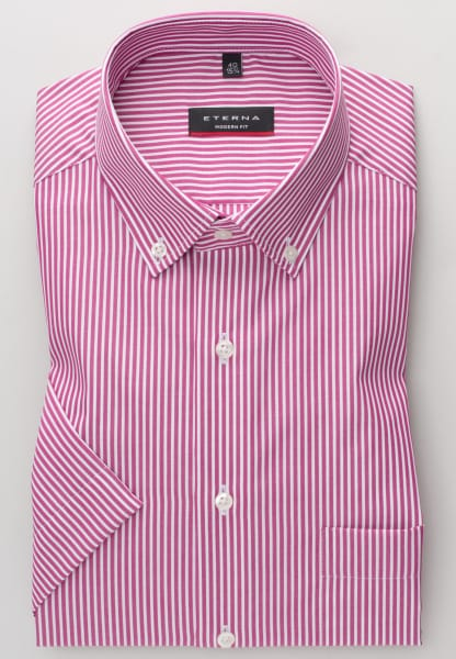 ETERNA HALF SLEEVE SHIRT MODERN FIT POPLIN PINK STRIPED