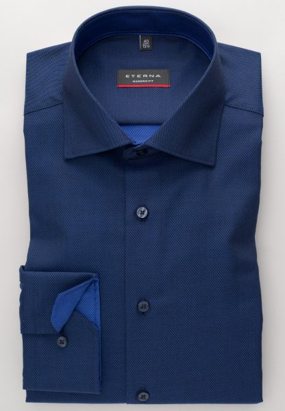 ETERNA LONG SLEEVE SHIRT MODERN FIT FANCY WEAVE BLACK/BLUE STRUCTURED