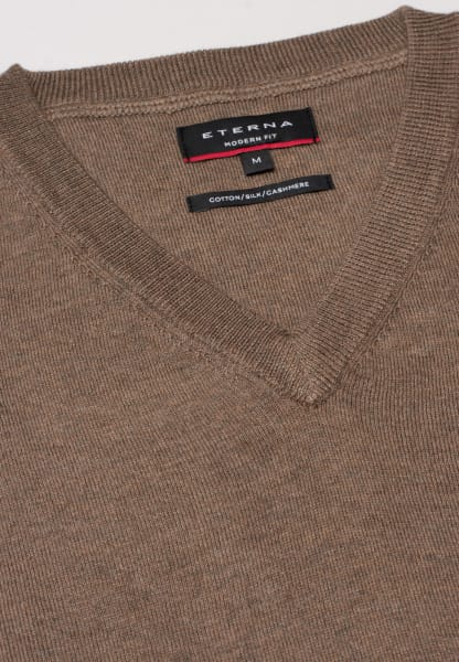 ETERNA KNIT SWEATER WITH V-NECK BEIGE-BROWN UNI
