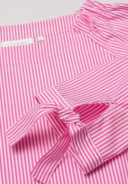 ETERNA 3/4 SLEEVE BLOUSE MODERN CLASSIC POPLIN PINK/WHITE STRIPED