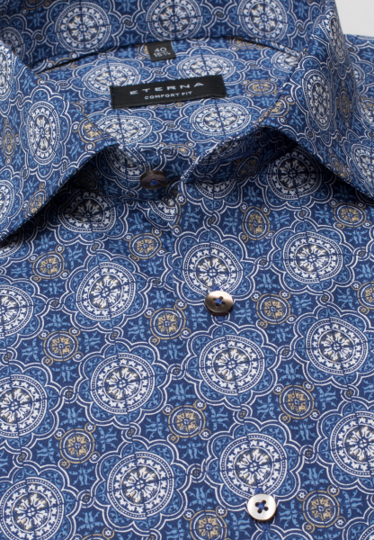 ETERNA HALF SLEEVE SHIRT COMFORT FIT POPLIN BLUE / BEIGE PRINTED