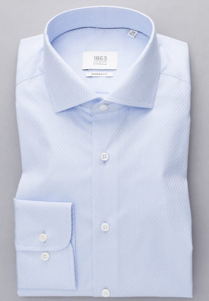 ETERNA LONG SLEEVE SHIRT MODERN FIT TWILL LIGHT BLUE STRUCTURED