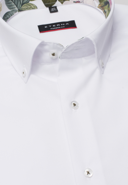 ETERNA HALF SLEEVE SHIRT MODERN FIT CHAMBRAY WHITE UNI