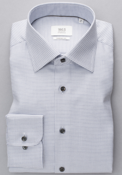 ETERNA LONG SLEEVE SHIRT COMFORT FIT TWILL GRAY / WHITE STRUCTURED