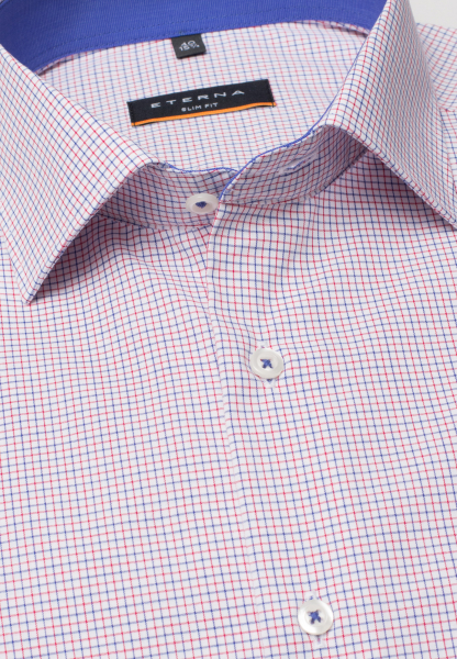 ETERNA HALF SLEEVE SHIRT SLIM FIT POPLIN RED/BLUE CHECKED