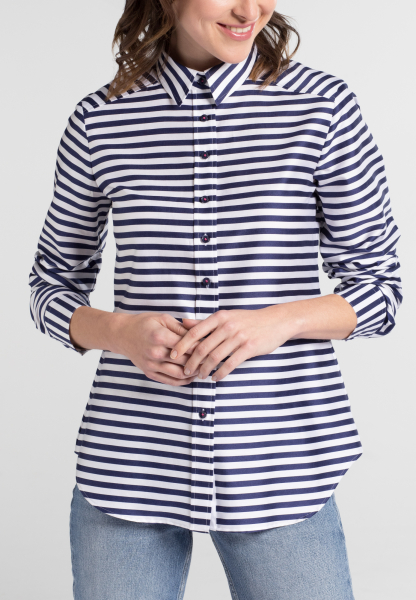 ETERNA LONG SLEEVE BLOUSE MODERN CLASSIC NAVY BLUE / WHITE STRIPED