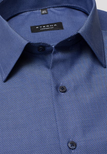 ETERNA HALF SLEEVE SHIRT COMFORT FIT FANCY WEAVE SMOKE BLUE STRUCTURED