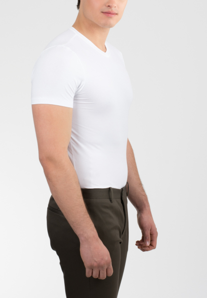 Eterna - bodyshirt with v-neck white uni - 3