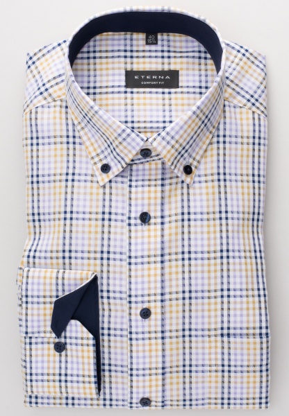 ETERNA LONG SLEEVE SHIRT COMFORT FIT TWILL LILAC / YELLOW / WHITE CHECKED