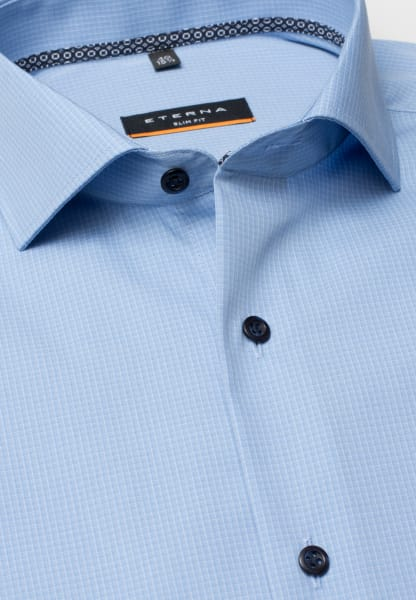 ETERNA HALF SLEEVE SHIRT SLIM FIT POPLIN BLUE CHECKED