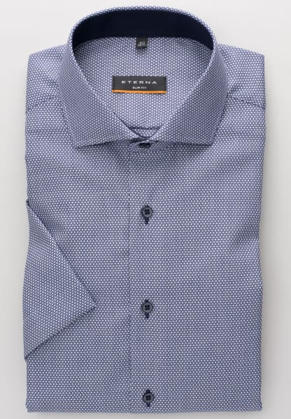ETERNA HALF SLEEVE SHIRT SLIM FIT FANCY WEAVE DARK BLUE STRUCTURED