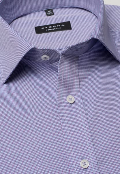 ETERNA HALF SLEEVE SHIRT COMFORT FIT POPLIN LILAC CHECKED