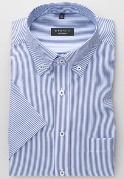 ETERNA HALF SLEEVE SHIRT COMFORT FIT OXFORD BLUE/WHITE STRIPED