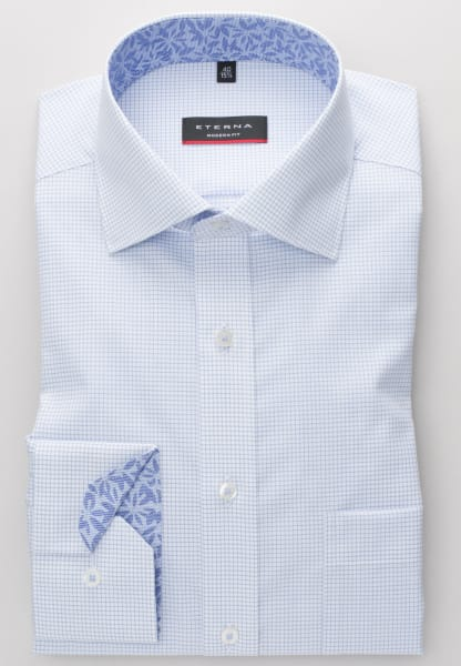 ETERNA LONG SLEEVE SHIRT MODERN FIT POPLIN LIGHT BLUE/WHITE CHECKED